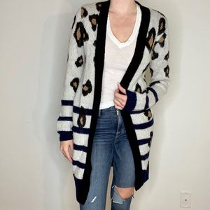 LPA Leopard Striped Open Cardigan
